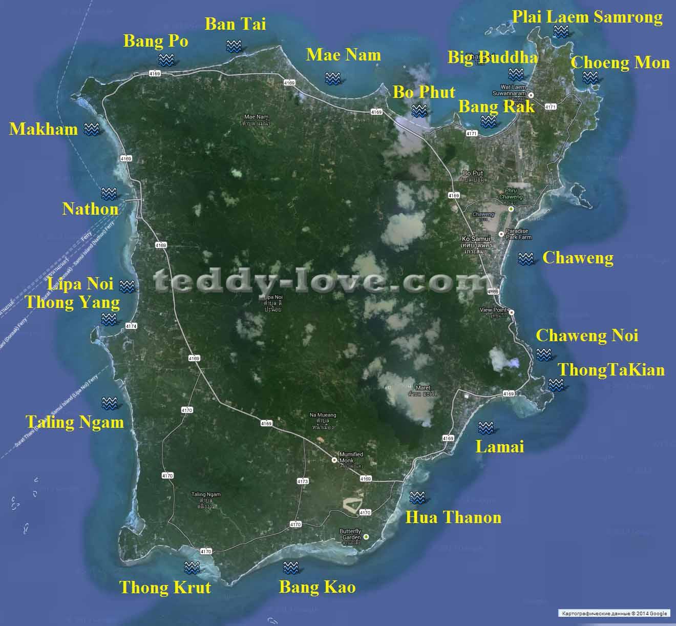 Остров Самуи карта пляжей