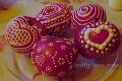 Рецепт глазури, роспись яблок, дессерт из яблок, украшения к 14 февраля