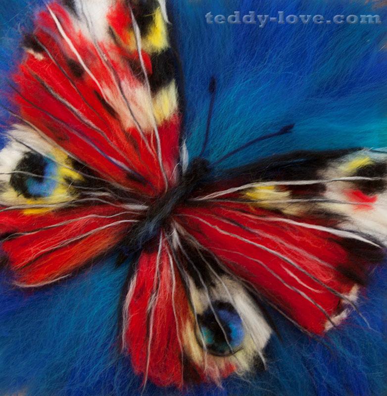 картина из шерсти своими руками, картина бабочка, бабочка из шерсти мастер класс, живопись шерстью картина как сделать