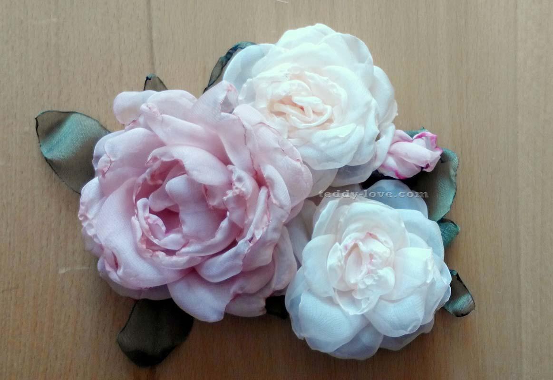 Брошь цветок из шифона своими руками фото 175