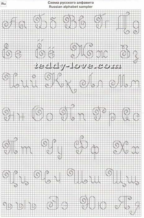 Метрика Монограмма Шрифт Кириллица Алфавит Схема вышивки 88