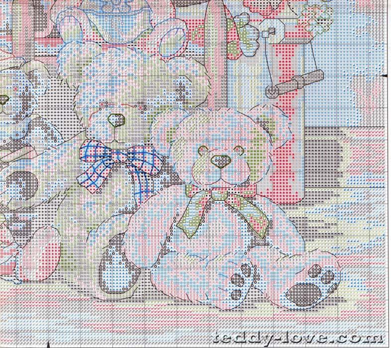 Вышивка семейство мишек схема
