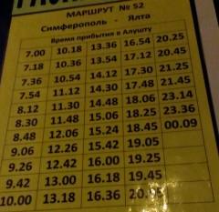 Расписание троллейбусов из Алушты в Ялту по состоянию на конец сентября 2015 г. Этот маршрут проходящий, до троллейбусной станции Алушты не доходит, делает остановку на автостанции.