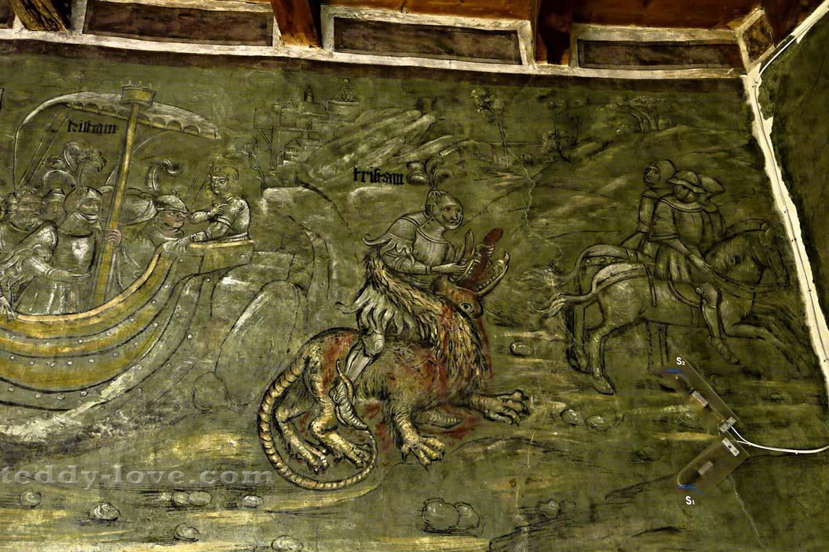 Тристан убивает дракона – средневековая версия
