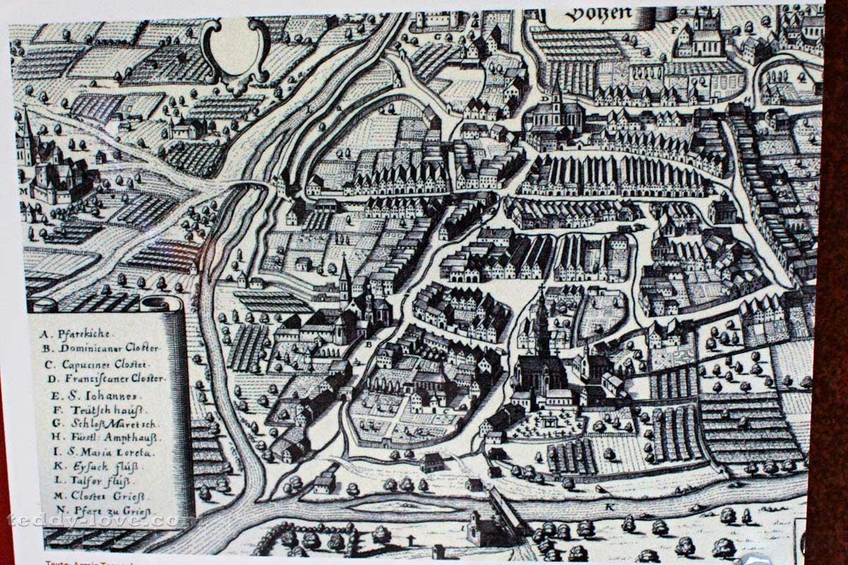 Старинная карта Бозена
